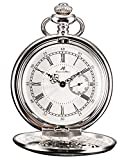 HELMASK pocket watch - Alloy Silver Round man mens Analog quartz Half hunter Pocket Watch
