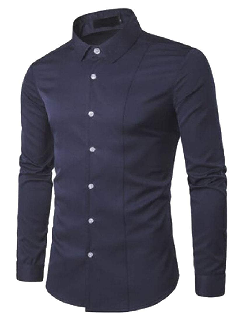 Men Long Sleeve Lapel Business Button Up Shirts Top