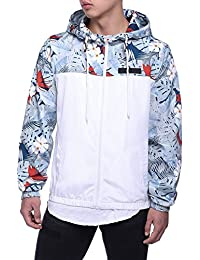 Men's Floral Hooded Windbreaker Lightweight Zip-up Jacket with Pocket