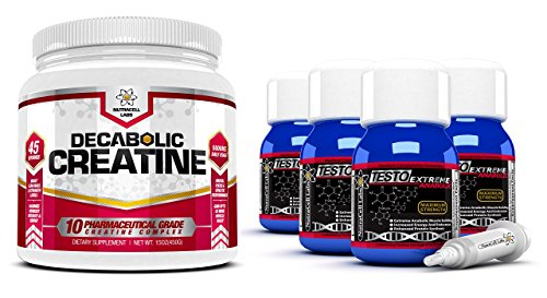 Nutracell Labs Testo Extreme Anabolic (4 Month Supply) + FREE 10 Blend Decabolic Creatine - Testosterone, Muscle Growth & Strength Stack