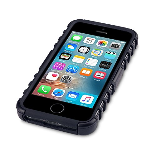 iPhone SE Tasche, Terrapin TPU + PC Hülle mit Standfunktion für iPhone SE Hülle Schwarz