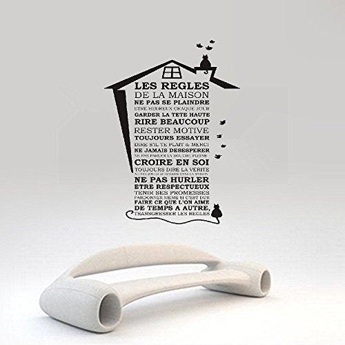 vlksjv Room Wall Stickers Quotes Les regles de la Maison Cat House Roof and House Rules]()