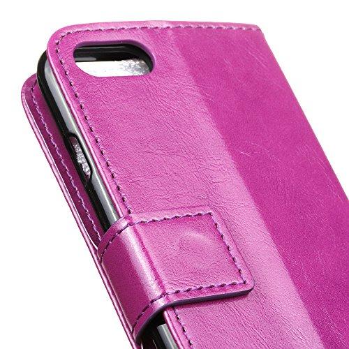 Lusee® PU Caso de cuero sintético Funda para Doogee Shoot 2 5.0 Pulgada Cubierta con funda de silicona botón caballo Loco patrón Rosa caballo Loco patrón púrpura