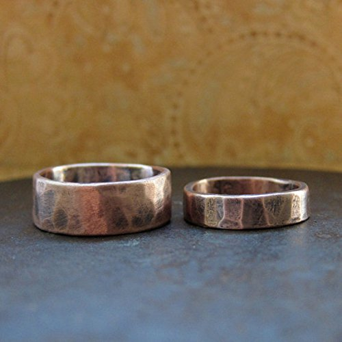 25bded63a9f45 Amazon.com: His & Hers Custom Rustic Wedding Bands, Rose Gold: Handmade