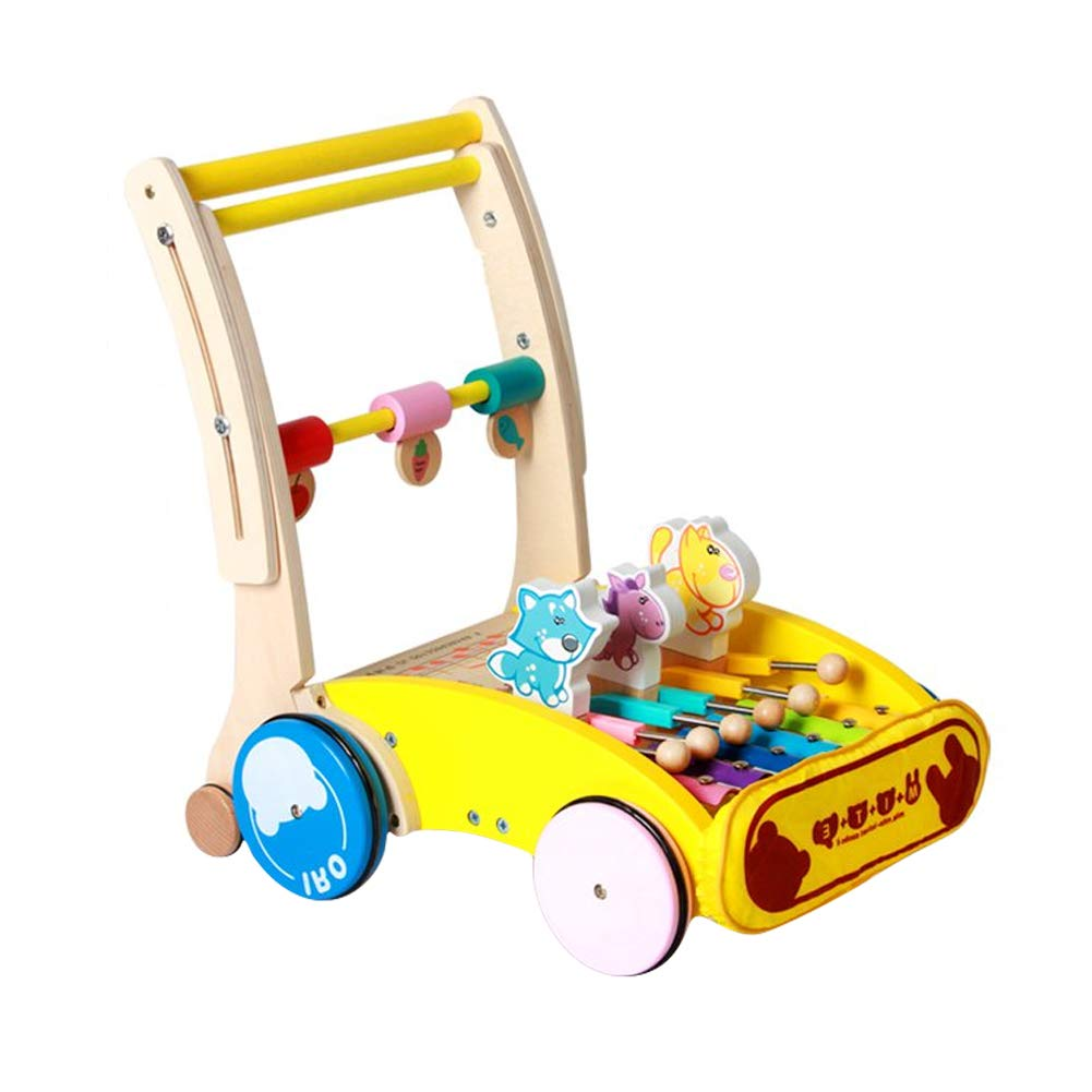 Jitnetiy Wooden Baby Walker with Wheel Toddler Learning Roll Cart Activity Walker for 12-16 Months Toddler (Style 1)