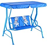 K&A Company Kids Patio Swing Porch Canopy 2 Person Chair Children Bench Yard Furniture Blue