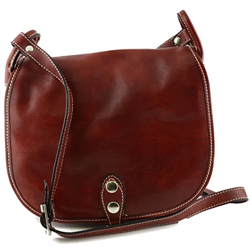 Leather Color Bag Made Bag Woman Red In Italy Woman Shoulder Leather Tuscan 7Zqftx