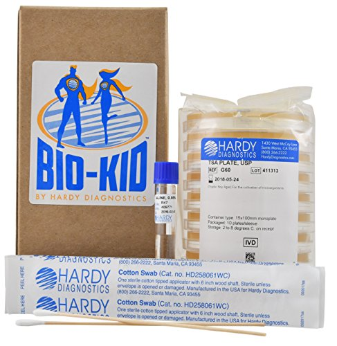 BIOKID, Discover The Microbiologist Within You, a Microbiology Bacteria Growing Kit, STEM Approved, 10 Tests Per Kit, by Hardy Diagnostics
