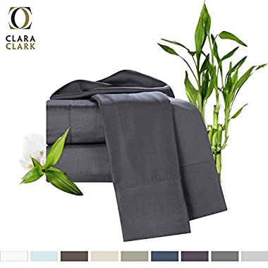 Bamboo Bed Sheet Set, Gray Queen Size, By Clara Clark, 100% Rayon Made From Bamboo Sheets, Luxury Super Silky Soft With Extra Thick Corner Elastic Straps On Fitted Sheet, Machine Washable