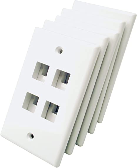 5 Pack Lot Keystone 6 Hole Port Jack Network Wall Face Plate CAT5e CAT6 Almond