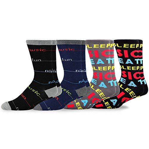 TeeHee Men's Music Cotton Crew Socks 4-Pack (No Music No ()