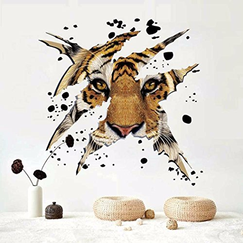 Cheap  Sikye Wall Decoration TV Wall Background Domineering Tiger Head Wall Stickers Home..