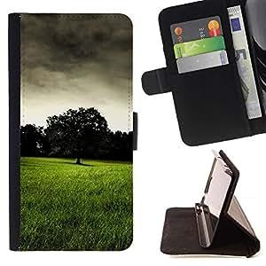 For Samsung Galaxy E5 E500 Case , Pradera Oscuro- la tarjeta de Crédito Slots PU Funda de cuero Monedero caso cubierta de piel