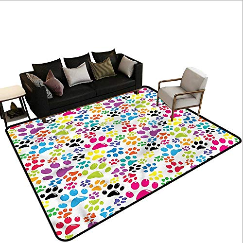 "Dog,Kitchen Mat for Living Room 36""x 48"" Cartoon Dog Paw Traces Printed Carpet"