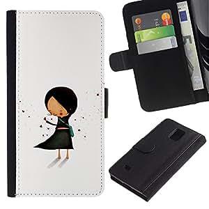 Paccase / Billetera de Cuero Caso del tirón Titular de la tarjeta Carcasa Funda para - Pastel Minimalist Black Hand Drawn - Samsung Galaxy Note 4 SM-N910
