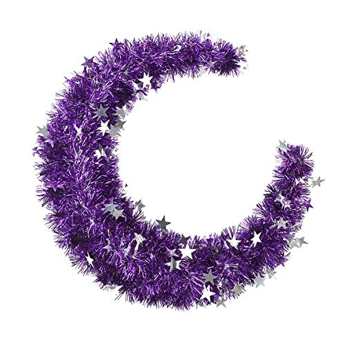 N&T NIETING Tinsel Wreath, 18inch Purple Tinsel Garland with Stars Wreath for front door, Wreath Hanger Decoration for Chiristmas Halloween Home Decor