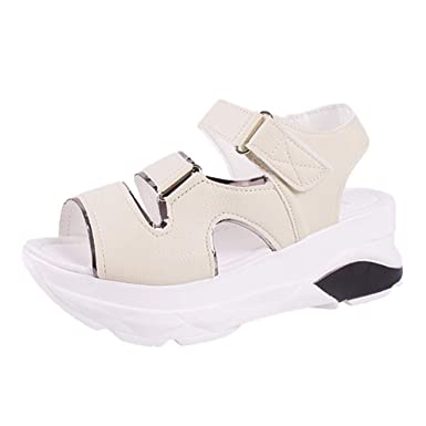 7e5502b2d Amazon.com  Women s Fashion Casual Summer Sport Sandals Thick Platform Med  Heel Shoes  Clothing