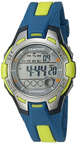 Armitron Sport Women's 45/7030NVLG Digital Navy Blue and Light Green Resin Strap Watch