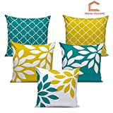 Dream Weaverz Stylish Abstract Leaf Print Cushion Cover Set of 5- Made of Exceptional Quality Velvet & Dupion with Clear 3D Print for a Perfect Interior (16*16 inch)- Yellow & Green