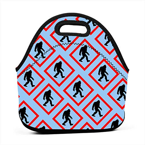 - Insulated Neoprene Picnic Storage Bag Gourmet Handbag For Men Women, Bigfoot Crossing Signs Lunch Bags - Reusable Zipper Bento Lunch Box Food Tote