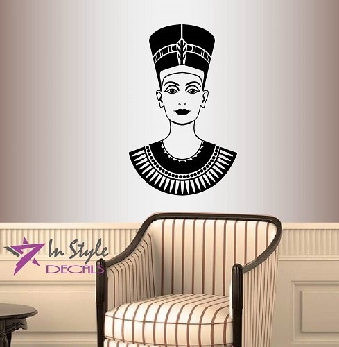 Wall Vinyl Decal Home Decor Art Sticker Silhouette Nefertiti Face Beauty Queen Egypt Pharaoh Office Bedroom Living Room Removable Stylish Mural Unique Design For Any Room Creative Design Logo - Brand Shop Egypt