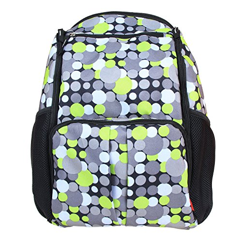 Damero Eco Lightweight Travel Diaper Backpack Changing Bag with Insulated Bottle Pocket and Changing Pad (Colorful Dots) (Eco Diaper Bag)