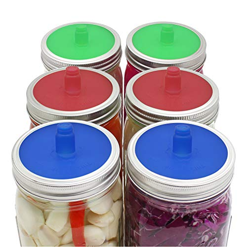 Pack of 6 Waterless Airlock Fermenting Lids for Wide Mouth Mason Jar, Food-Grade Silicone Fermention Lids for Sauerkraut, Kimchi, Pickles and Other Fermented Probiotic Food, 3 Colors (Mason Jar Lids Color)