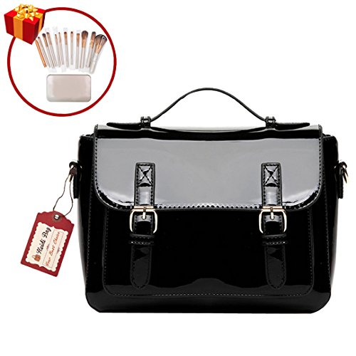 Leather Patent Leather Messenger Bag (Heidi Bag Women Patent Leather Tote Handbag Messenger Shoulder Bag Chain Crossbody Bag with Makeup Brush Set Black)