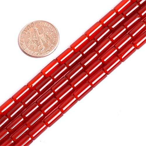 Red Agate Beads for Jewelry Making Natural Gemstone Semi Precious 4x8mm Column Tube 15