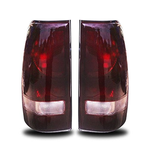 01 Tail Light Assembly - SPPC Dark Red Euro Tail Lights Assembly Set for Chevrolet Silverado : GMC Sierra - (Pair) Includes Driver Left and Passenger Right Side Replacement