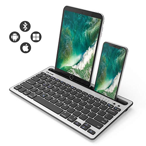 Bluetooth Keyboard, Jelly Comb BK230 Dual Channel Multi-Device Universal Wireless Bluetooth Rechargeable Keyboard with Sturdy Stand for Tablet Smartphone PC Windows Android iOS Mac (Black and Silver) by Jelly Comb