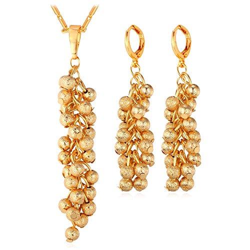 U7 18K Gold Plated Fashion Grape Fruit Style Pendant Necklace Earrings Set -