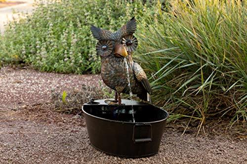 (Alpine Metal Owl on a Tin Fountain, 23 Inch)