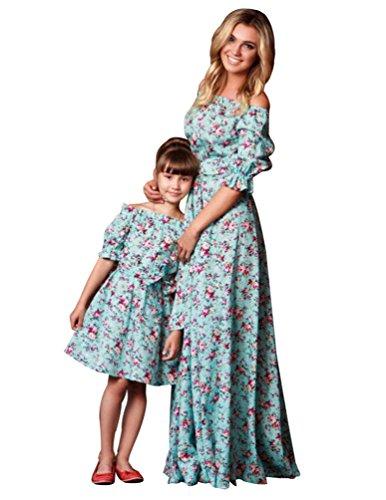 YOUJIA Manga 1/2 Fuera del hombro Maxi Rizado Vestido de Familia cóctel Madre e Hija Floral