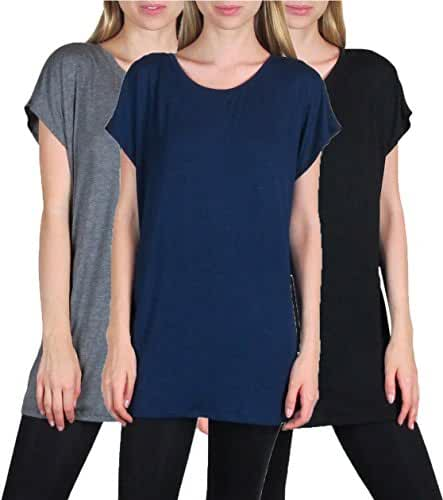 3 Pack: Free to Live Women's Long Kimono Sleeve Loose-fit Tunics