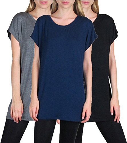 Free to Live Women's 3 Pack Long Kimono Sleeve Loose-fit Tunics (Small)