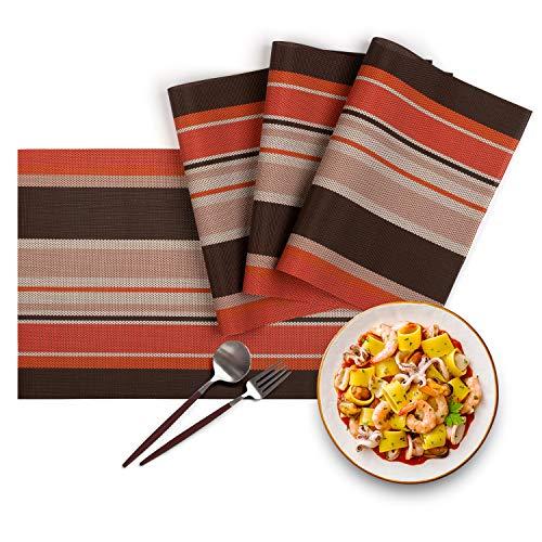 - HOMEWINS 4 PCS Striped Kitchen Place Mats Handmade Crossweave PVC Table Placemats Non-slip Washable Heat-resistant  Vinyl Table Mats (Orange)