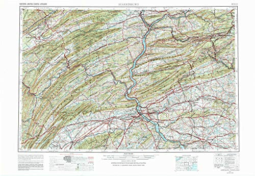 YellowMaps Harrisburg PA topo map, 1:250000 Scale, 1 X 2 Degree, Historical, 1957, 22.1 x 32.2 in - Polypropylene