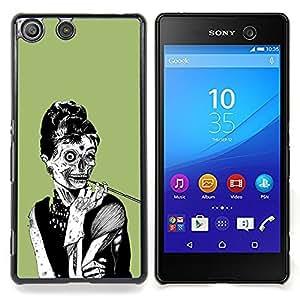 """Qstar Arte & diseño plástico duro Fundas Cover Cubre Hard Case Cover para Sony Xperia M5 E5603 E5606 E5653 (Zombie Mujer Chic Cráneo del dibujo del arte de humo"""")"""