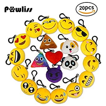 """Pawliss 2"""" Emoji Animal Keychain Party Supplies Plush Toy Bag Accessory Pack of 20"""
