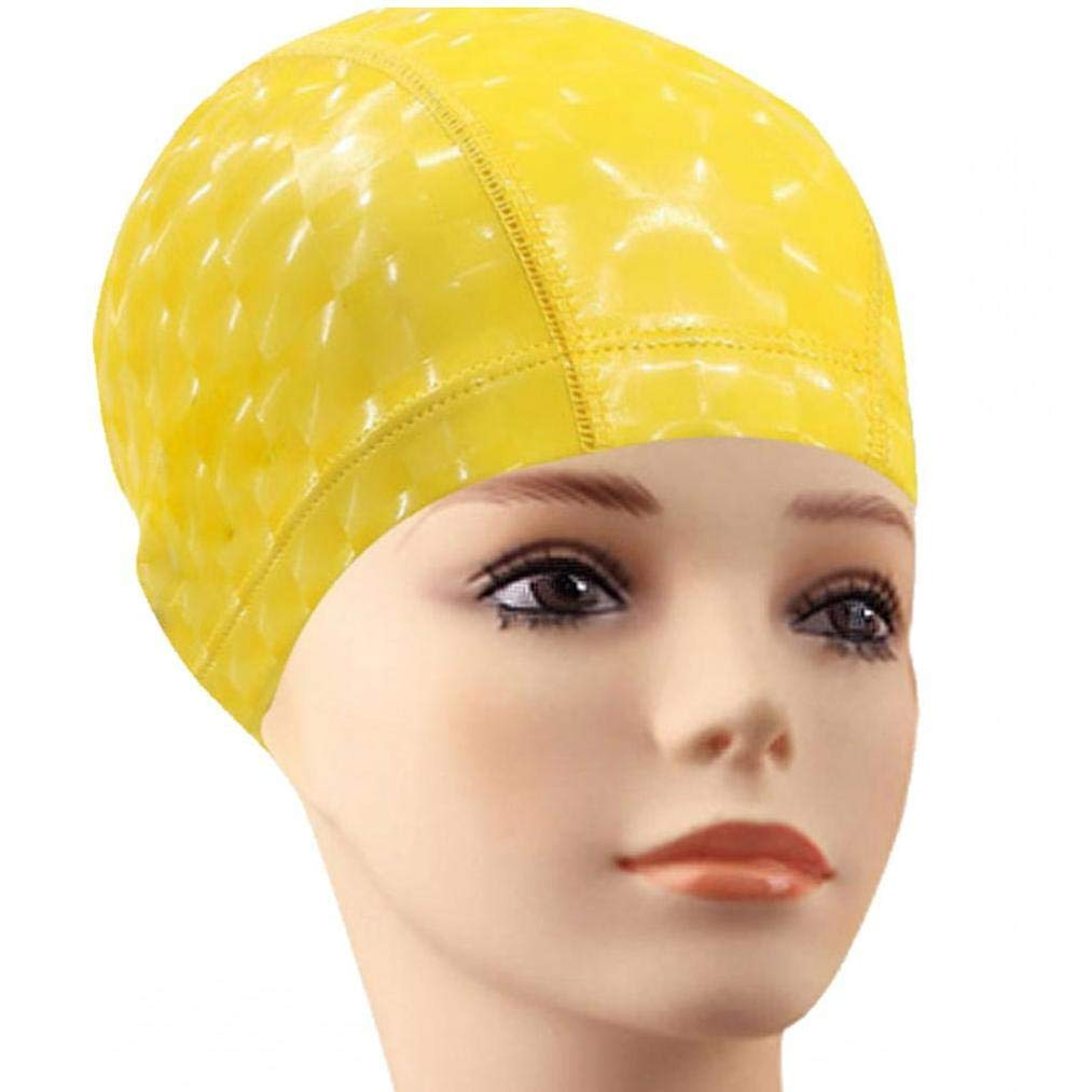 PU Rev/êtement De Tissus Bonnet De Bain Solide Couleur /étanche Casques Antibruit Cheveux Natation Piscine Hat Piscine deau Sport Outil Accessoires pour Femmes Hommes