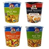 Dr. McDougall's Vegan Soup Cups 4 Flavor Variety Bundle, 1 each: Hot & Spicy, Split Pea, Tortilla, Pad Thai (2-2.5 Ounces)