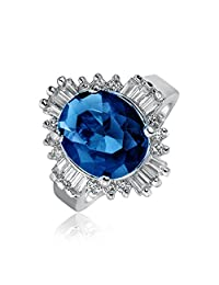 Art Deco Style Royal Blue Oval Baguette Halo 6CT CZ Simulated Sapphire Statement Ring for Women Silver Plated Brass