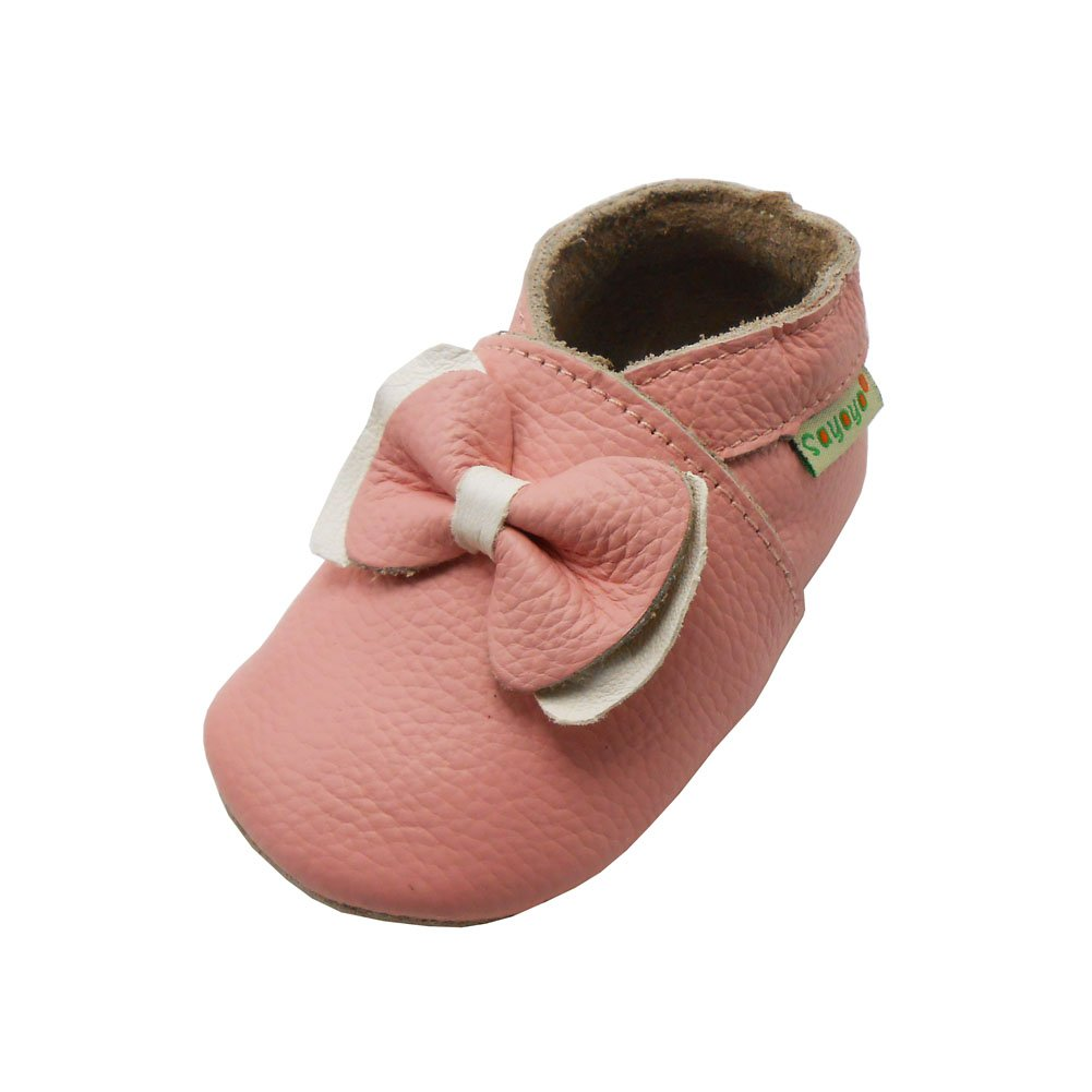 Sayoyo Baby Bow Soft Sole Pink Leather Infant and Toddler Shoes Bai Shu A1034-CA