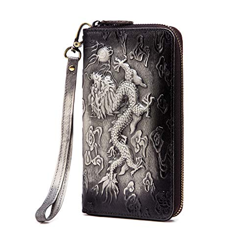 Le'aokuu Mens enuine Leather Clutch Hand Bag Organizer Checkbook Zipper Wallet (The Black -
