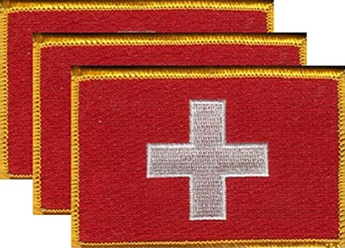 """Pack of 3 Country Flag Patches 3.50"""" x 2.25"""", Three International Embroidered Iron On or Sew On Flag Patch Emblems (Switzerland)"""