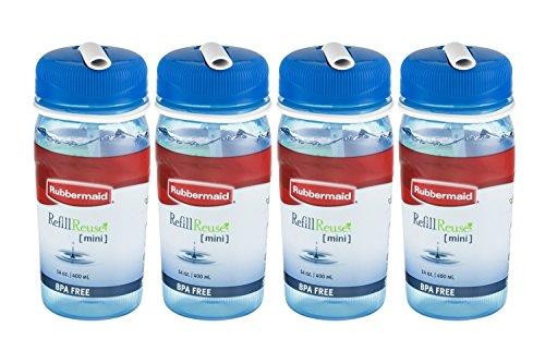 (Rubbermaid Refill Reuse Mini Bottle, 14 oz, Blue (4 Pack))