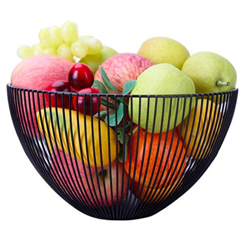 Wire Fruit Basket Bowl, Metal Round Black Fruit Vegetable Storage Basket Holder for Kitchen Countertop - Large