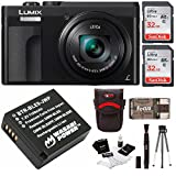 Panasonic DC-ZS70K Lumix 20.3MP, 4K Touch Enabled 3'' LCD, 180 Degree Flip-Front Display, 30x Lens 64GB Bundle