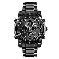 Skmei Mens Watches Top Brand Luxury Quartz Analog LED Digital Analog Watch Men (All Black)